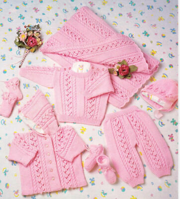 Baby Toddler Copy Cardigans Jumper Trousers Knitting Pattern 8 Ply Premmie size