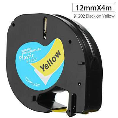 12mmx4m Plastic Label Tape Compatible For DYMO letraTAG 91202 Black on Yellow