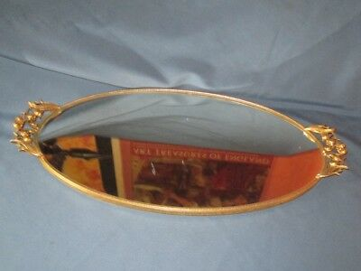 Vintage MATSON Mirror Glass Vanity Tray Gilt Metal Lily Of The Valley Handles