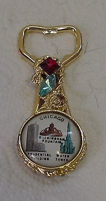Chicago Illinois Souvenir Bottle Opener With Jewels & Building Images