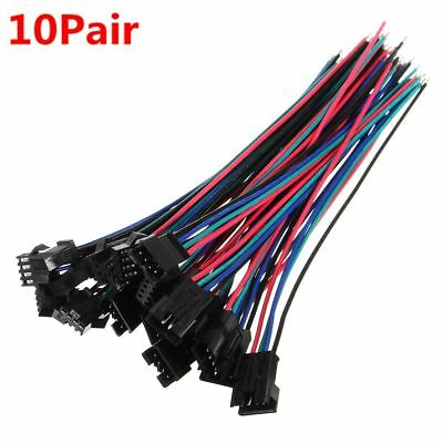 10 sets JST 15cm SM 4Pin 22AWG Wire Male and Female Connectors Wire Pitch 2.54mm