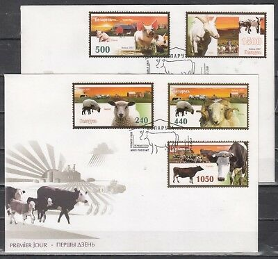 Belarus, Scott cat. 642-646. Farm Animals issue on 2 First day Covers.