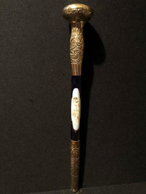 Victorian Rolled Gold Porcelain Parsol Handle With Painted Cherubs
