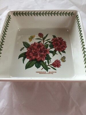 NEW Portmeirion Botanic Garden Square Casserole Red Rhododendron Baking Dish Box