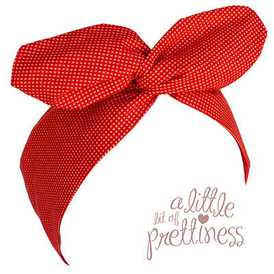 Red Micro Check Rockabilly 50's Vintage Wire Headscarf