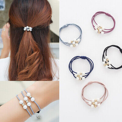 3 In 1 Pearl Elastic Rubber Bands Hair Ring Band Ponytail Holder Scrunchy Rope