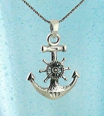 Anchor Helm Necklace Nautical Sailor Ship Wheel Mariner Sterling Silver wh309