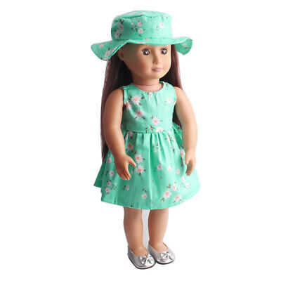 Floral Dress with Hat Suit Clothes Outfit for 18inch American Girl Green