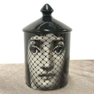 Vintage Fornasetti  Design Candle Holder Storage Home Decorative Jar Black Lid