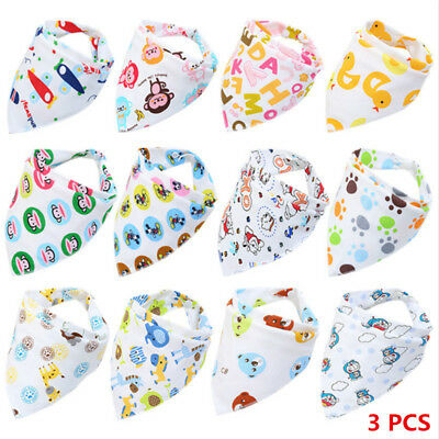 3Pcs Infant Baby Boy&Girl Bibs Feeding Saliva Towel Dribble Triangle Bandana