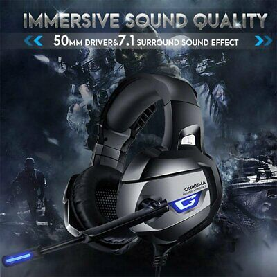 Gaming Headset 7.1 Surround MIC LED Headphones for PS4 PC Mac Laptop Xbox One