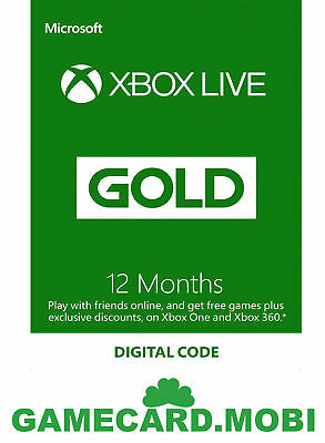 XBOX Live 12 Monate - XBOX Mitgliedschaft GOLD Membership 12 Month Card DE