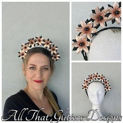 Ladies Black & Rose Gold Leather Headband Fascinator Wedding Races