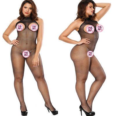 Women Bodysuit Sexy Plus Lingerie Open Bra Thin Sleepwear Jumpsuit Conjoined Net