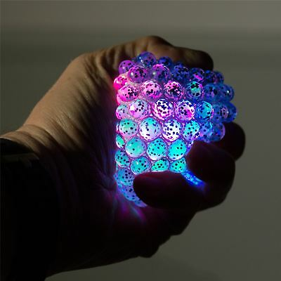 Light Up Squishy Mesh Net Ball Squeeze Stressball With Glitter Fun Kids Toys