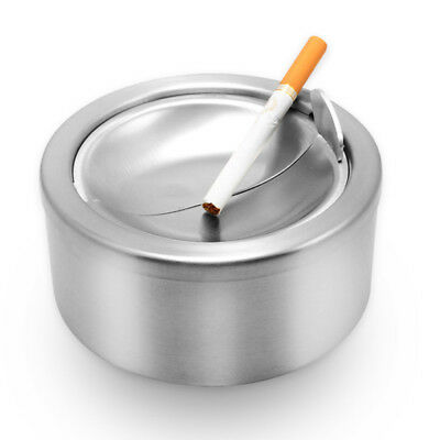 Stainless Steel Silver Cigarette Lidded Ashtray Windproof Ashtray with Cover