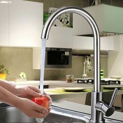 High-arch Gooseneck Kitchen Faucet One Handle Pull down Metal Brushed faucet SA