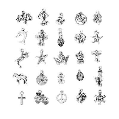 25 ANTIQUE SILVER MIXED CHARMS 25-14mm~Angel~Animals~Wine Glass Charm~Card (43J)