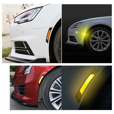 2pcs Orange Car Door Edge Guard Reflective Sticker Tape Decal Safety Warning