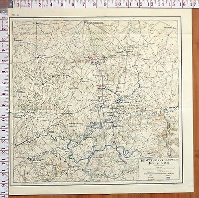 Map/battle Plan Waterloo Campaign June 14-18 1815 Napoleon Wellington Reille