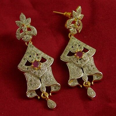 India Goldplated Desginer AD Earrings Traditional Ruby Stone Drop Dangle Jewelry