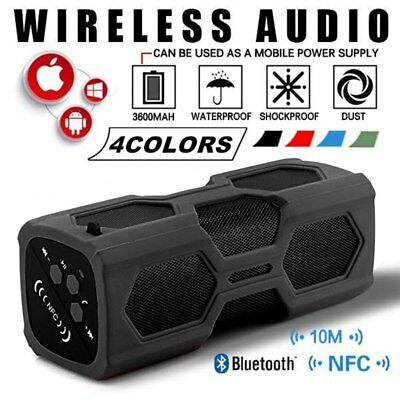 Portable 20W Wireless NFC Bluetooth Speaker USB Power Bank 3600mAh Waterproof TF