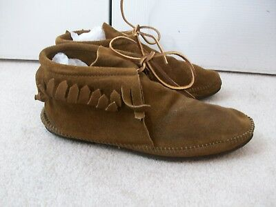 Vtg Minnetonka Moccasin Fringed Brown Suede Leather Bootie Mocs ~10 M