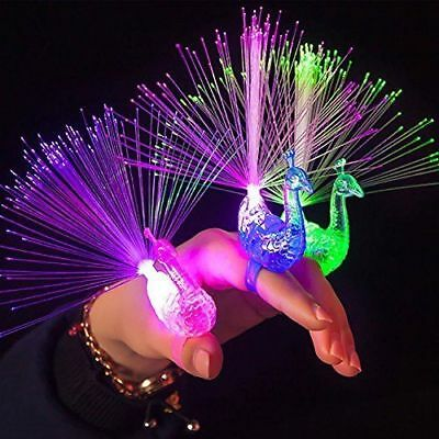 Plastic Creative Child Peacock LED Fiber Finger Night Light Party Toy Gift PLAY