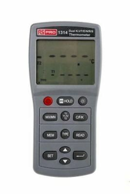 RS PRO 1314 Digital Thermometer, 2 Input Handheld, E, J, K, N, R, S, T Type Inpu