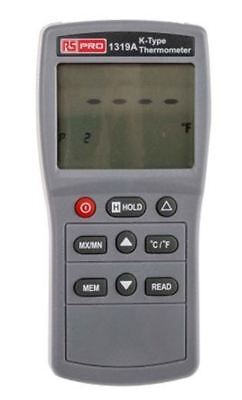 RS PRO 1319A Digital Thermometer, 1 Input Handheld, K Type Input With UKAS Calib