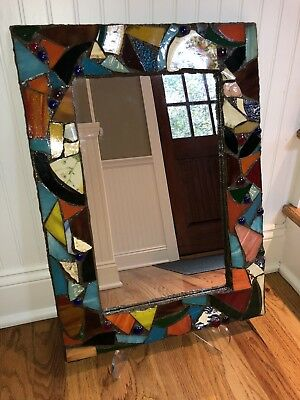 "Mosaic Art Stained Glass Framed Mirror 22"" By 16"""