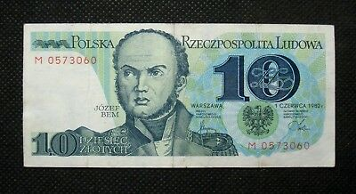 Bank Note Of Poland (People's Republic) 10 Zloty 1982 General Jozef Bem