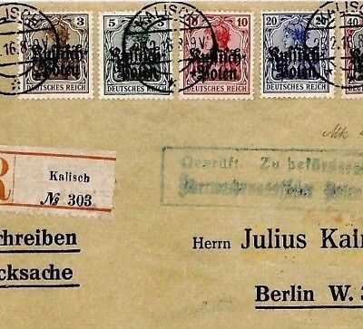 CQ240 Russia POLAND German Occupation WW1 *Kalisch* Registered GERMANIA Cover