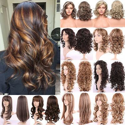 Bouncy Curly Brown Blonde Auburn Hair Wig Full Wigs Synthetic Hair Curly Ombre