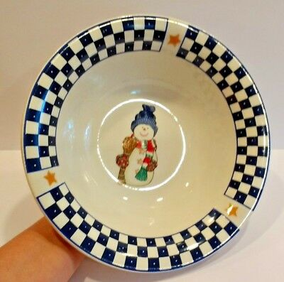 """Snowman Serving Bowl - Christmas Holiday Party 9.5"""" Table Decor Home Lifestyles"""