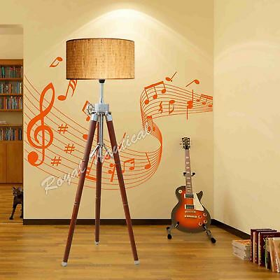 Wooden Vintage Tripod LED Floor Lamp Stand Without Shade Bedroom Lighting