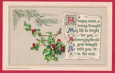 0618F Vtg New Year Pc Winsch Holly Gold Wishbone Calligraphy Verse Gold Accents