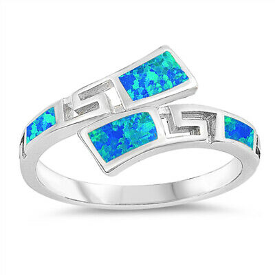 Blue Lab Opal Wave Double Shank Greek Key Ring Sterling Silver Band Sizes 5-10