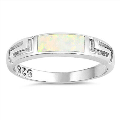 White Lab Opal East-West Greek Key Ring New .925 Sterling Silver Band Sizes 5-10