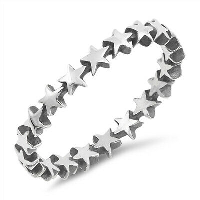 Thin Star Antiqued Midi Eternity Stackable Ring Sterling Silver Band Sizes 2-12