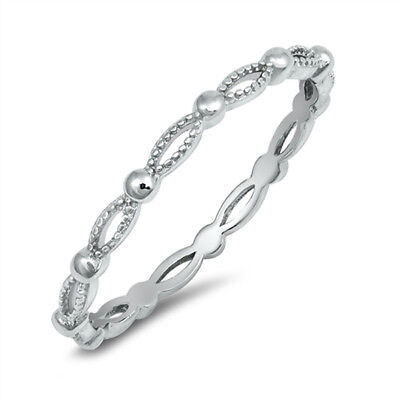 Thin Infinity Eternity Stacking Wedding Ring 925 Sterling Silver Band Sizes 2-10