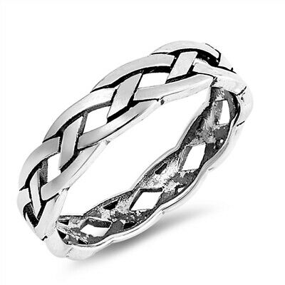 Oxidized Celtic Weave Braid Stackable Ring .925 Sterling Silver Band Sizes 4-10