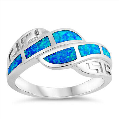 Blue Lab Opal Greek Key Wave Wide Ring New .925 Sterling Silver Band Sizes 5-10