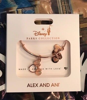 Disney ALEX AND ANI Rose Gold Minnie Ears Hat Icon Rose Gold Bangle Bracelet New
