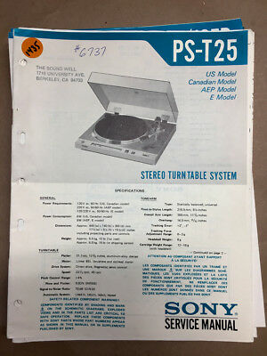 Sony PS-T25 Turntable Service Manual *Original*