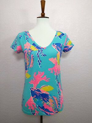 bf20d9ed13908 Lilly Pulitzer Shorely Blue Sandstorm Michele V-Neck Stretchy T-Shirt Top  Size S