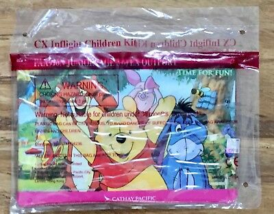 NIP Cathay Pacific Airlines Inflight Children Kit POOH ZIPPER BAG Activity Set