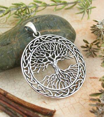 Large Celtic Tree of Life Pendant Necklace Sterling Silver w/ Meaning Note wh192