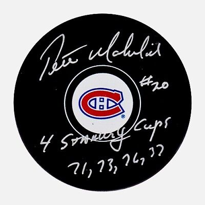PETE MAHOVLICH AUTOGRAPHED MONTREAL CANADIENS PUCK w/4 STANLEY CUPS 71 73 76 77