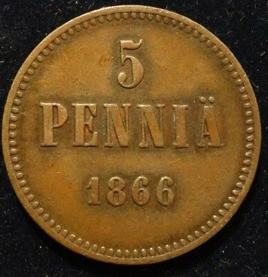 5 penny 1866 Finland and Russia Imperial copper coin during  Alexander II